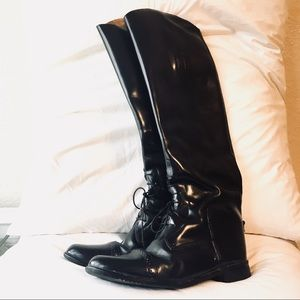 Vintage equestrian riding boots black leather 9